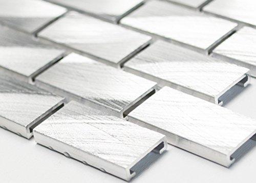 Mosaico di alluminio mosaico piastrelle Brick in alluminio di rete Uni argento piastrelle specchio parete in metallo cucina bagno WC