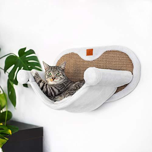 Pfotenolymp® Hängematte für Katze stabil mit Wandmontage für Katzen bis 10kg | Katzenhängematte Komplettset | Katzenbett Liegemulde Liegeplatz