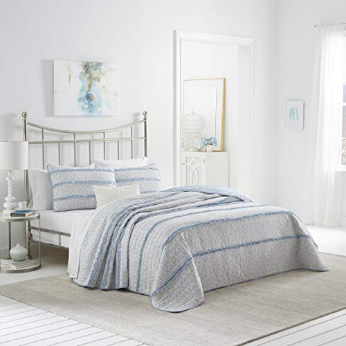 Laura Ashley | Opal-Kollektion | Luxus Premium Ultra Soft Quilt Cover, bequem & leicht, Ganzjahres-Tagesdecke, Full/Queen, Powder Blue
