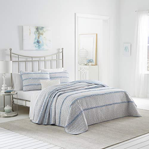 Laura Ashley Home | Opal-Kollektion | Luxus Premium Ultra Soft Quilt Bezug, bequem und leicht, Ganzjahres-Tagesdecke, Kingsize, Powder Blue