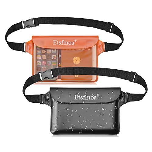 Etsfmoa 防水ポーチ 防水ケース 防水ウエストポーチ 完全防水 スマホ 小物入れ 海 海水浴 プール お釣り アウトドア 大容量 三重チャック 4WAY PVC素材 メンズ レディース 2個セットbk+orange