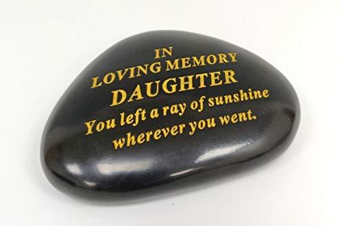 DF DAUGHTER Memorial Black & Gold Pebble Garden Ornament Stone/Rock Effect 14.5 x 10 cm