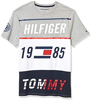 Tommy Hilfiger Men's Sport Short Sleeve Graphic T Shirt, Grey Heather/Multi, LG from Tommy Hilfiger