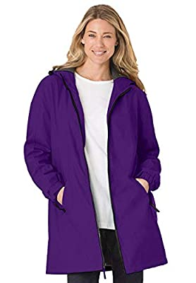 Woman Within Women's Plus Size Hooded Slicker Raincoat - 1X, Radiant Purple by Woman Within