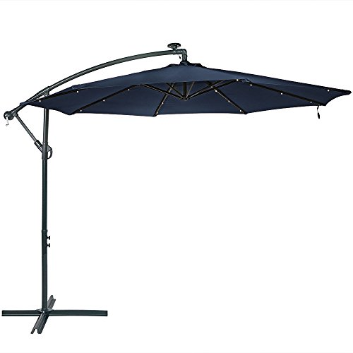 Sunnydaze 10-Foot Offset Cantilever Solar Patio Umbrella with Outdoor LED Lights, Crank, and Cross Base, Navy Blue