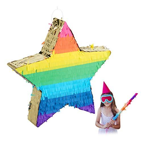 Relaxdays Pinata Stern, Partypinata zum Befüllen, Kinder & Erwachsene, Regenbogen, Schlagpinata zum Aufhängen, bunt-gold