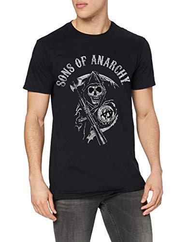 Sons of Anarchy Main Logo Camiseta, Black, M para Hombre