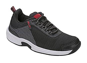 Orthofeet Proven Heel and Foot Pain Relief Extended Widths Best Orthopedic Plantar Fasciitis Diabetic Men's Walking Shoes Sneakers Edgewater Black/Grey