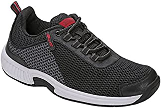 Orthofeet Proven Heel and Foot Pain Relief. Extended Widths. Best Orthopedic Plantar Fasciitis Diabetic Men's Walking Shoes Sneakers Edgewater Black/Grey