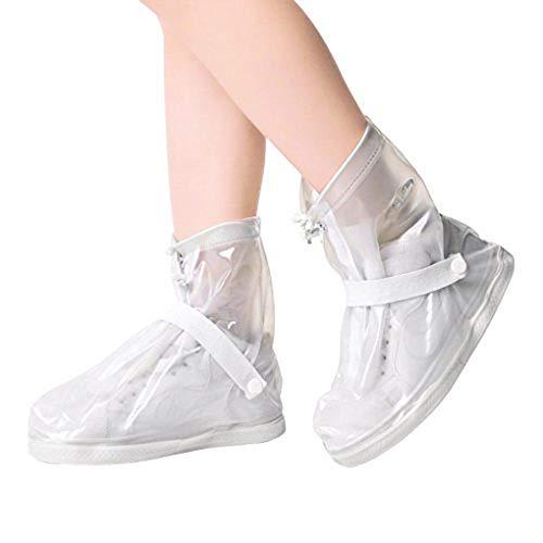 Couvre-chaussures Imperméable Femmes Filles Surchaussures Pluie Neige Réutilisable Antidérapante Semelles Epaisse Botte Guêtre Réglable Couverture de Chaussures pour Marche Camping Randonnée Cyclisme