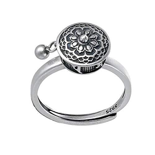 Anello di preghiera del loto rotante in argento sterling 925, anello regolabile con smalto floreale di loto, anello di apertura del mantra di moda regalo gioielli fortunati