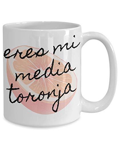DKISEE Media Naranja, Mi Media Naranja Es Toronja, Vasos Media Naranja, Media Naranja Copas, Español Día de San Valentín, Regalo Para Pareja 11 oz