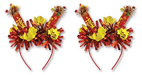 Beistle Chinese New Year Headbands 2 Piece Asian Party Supplies Costume Accessory, One Size, Red/Yellow