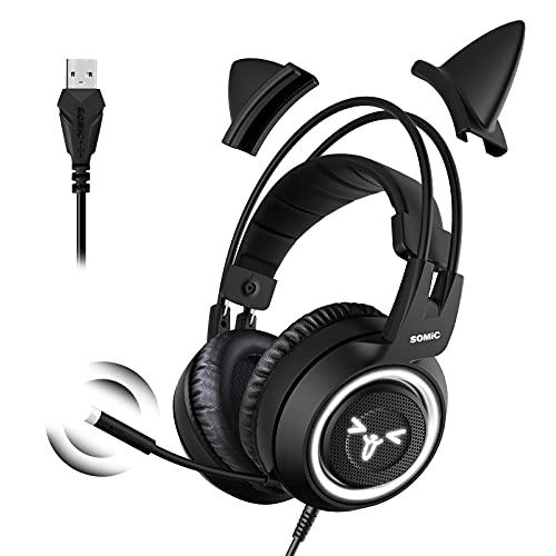 SOMIC Cat Gaming-Headset mit Virtual 7.1 und LED-Licht, Surround Sound, Headset mit Noise Cancelling-Mikrofon für Computer, PS4, Laptop, Schwarz (USB-Stecker)