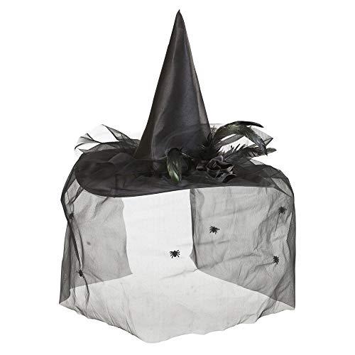 Widmann wdm9430 K ? Déguisement Pour Adultes chapeaux sorcière avec tulle, fleur et plumes, noir, taille unique