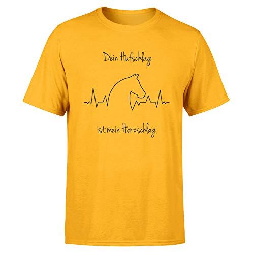 T-Shirt Pferde Liebe * Pferdemotiv Pferdekopf Pferdefreunde Pferd Tier Frau * 100% Baumwolle, Größe:XL, Farbe:Gelb