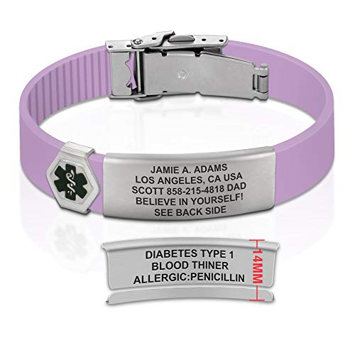 Divoti Sport ID Medical Alert Bracelet – Personalized Medical ID Bracelet – Trim-to-Fit Adjustable Purple Rose Silicone Band w/Security Clasp & Dual-Side Engraving - Ultra - Black