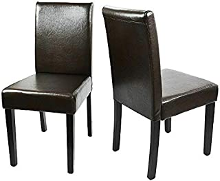 Moon Daughter PU Leather Durable Wood Legs and Chair Dining Room Set of 2 pcs Brown