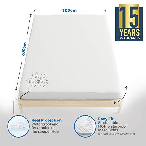 Dreamzie - Matratzenschoner 100 x 200 cm Wasserdicht - Atmungsaktive Matratzenauflagen 100% Baumwolle - Matratzen Topper Anti-Allergisch, Anti-Milben & Hygienischer - 15 Jahre Garantie