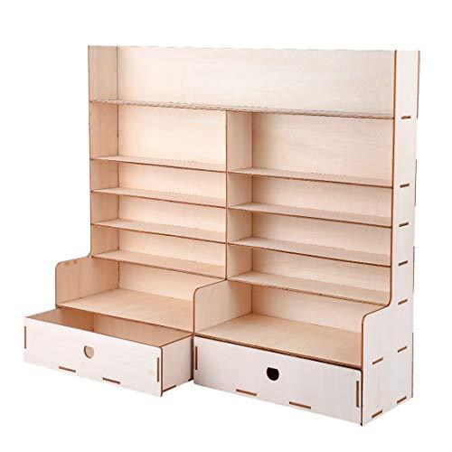 bobotron Estantería de madera para pintura con pigmentos y botellas, organizador de almacenamiento, soporte para armario, buena estabilidad y estante de mesa