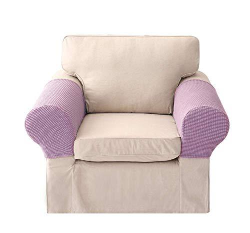 XHNXHN Juego de 2 Fundas para reposabrazos, Protector de sofá, sillones elásticos, Fundas para Brazos de sofá, Tapas de poliéster para Brazos, Protector de Muebles, Morado