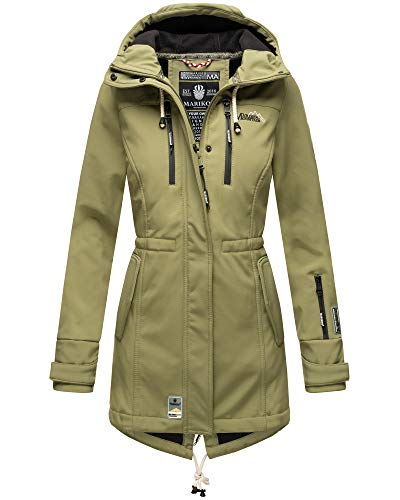 Marikoo Damen Softshell Jacke Winter Jacke Regenjacke Parka Kapuze ZMTZ (XL, Grün)