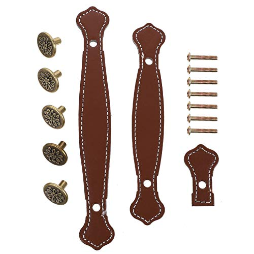 VOSAREA 3pcs Leather Suitcase Handle Vintage Drawer Cabinet Pull Furniture Door Handle with Mounting Screws for Drawer Cabinet PU Suitcase Browm
