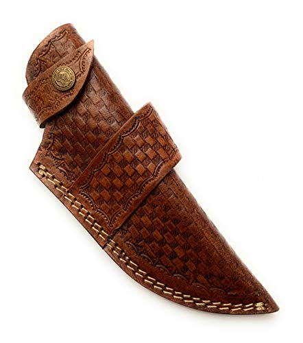 8.5' long custom handmade leather sheath for fixed blade knife. 2' wide top opening