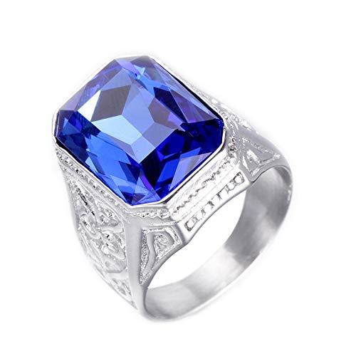 PAURO Hombre Anillo de Zafiro de Acero Inoxidable Promesa de Boda Vendimia con Piedra Grande Plata Azul Tamaño 22