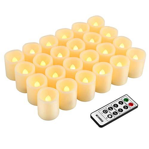 Kohree 24 x LED Kerzen flameless Teelichter mit Timer Fernbedienung Batterien einstellbare Helligkeit Elektrische Flackern Kerzen für Outdoor Muttertag Valentinstag Party Geburtstags, Warm weiß…
