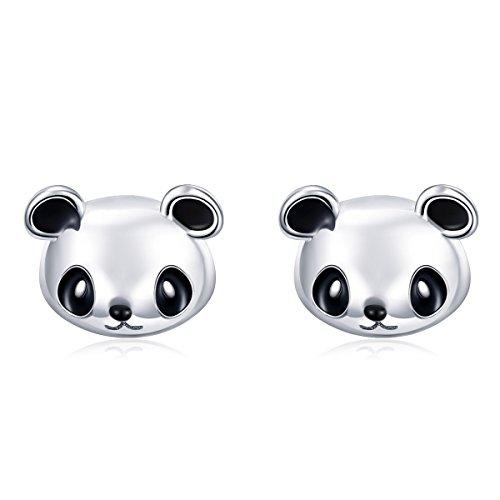 Qings Pendientes Niña Panda Plata de Ley 925 Pendientes Animales Mini Pendientes Oso Panda Lindo Joyería para Niñas Mujeres Adolescentes