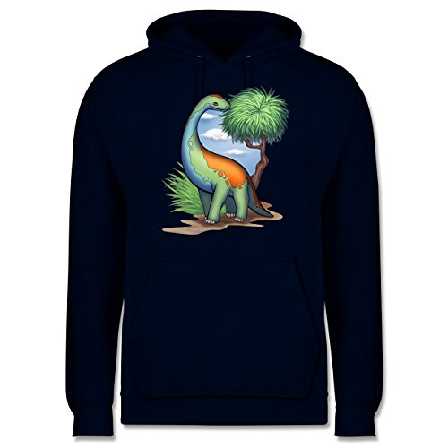Shirtracer Sonstige Tiere - Dino - Langhals - L - Navy Blau JH001 - Herren Hoodie und Kapuzenpullover für Männer