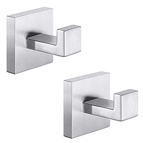 Cuasting 2 ganchos cuadrados para toallas de baño para ropa, ropa, gancho de pared resistente, acero, estilo moderno, para puerta de armario, para baño, dormitorio, cocina, oficina