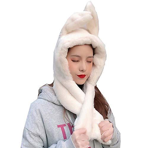 YEKEYI Winter Warme Beanie Pop Up Ohren Plüsch Hut Ohr beweglich Hüpfen Kaninchen Hut Häschen Kappe für Frauen Mädchen, weiß, Einheitsgröße