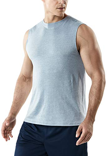 TSLA Men's Sleeveless Running Tank Top, Performance Athletic Muscle Shirts, Dry Fit Workout Gym Tank Tops, Dyna Cotton 1piece(mtn52) - Oxford Grey, Medium