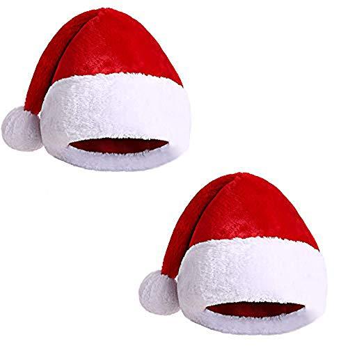 Pack 2 Gorro Papá Noel de Navidad de Santa Claus de Terciopelo de Felpe Suave Sombreros Rojos Navideño de Invierno para Fiesta Festiva de Año Nuevo para Adultos Unisex