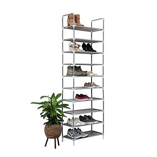 Vivol Zapatero XL para 20 pares de zapatos, zapatero con 10 niveles, 178 x 56,5 x 27 cm, altura regulable, resistente al agua, color gris