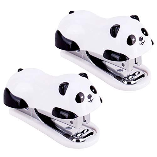 yyuezhi 2 Stücke Mini Hefter Mini Panda Desktop Hefter Tragbar Manuelle Desktop Hefter Hochwertiger Panda Hefter Kleiner Hefter für Schule Büro Zuhause Desktop Hefter ist Leicht zu Tragen