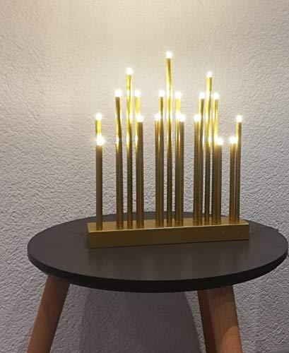 Bella-Vita GmbH LED Stimmungsleuchte 19 flammig batteriebetrieben Dekoleuchte Dekolampe Fensterbeleuchtung (goldfarben)
