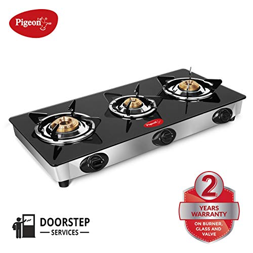 Pigeon by Stovekraft Favourite Glass Top 3 Burner Gas Stove, Manual Ignition, black