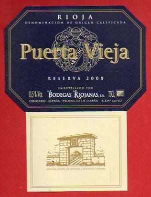 Etiqueta: PUERTA VIEJA. Reserva 2008.