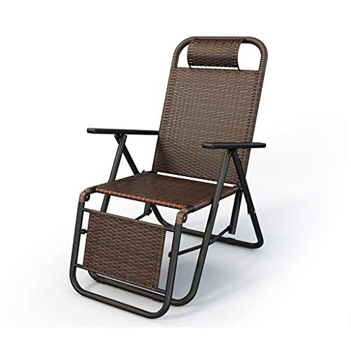 DHR Chaise Pliante Inclinable en Rotin PE Chaise De Pause Déjeuner à La Maison Chaise Siesta Chaise Cool Old Casual Leisure Chairs for Jardin, Plage, Camping, Vacances (Color : Chair 3)