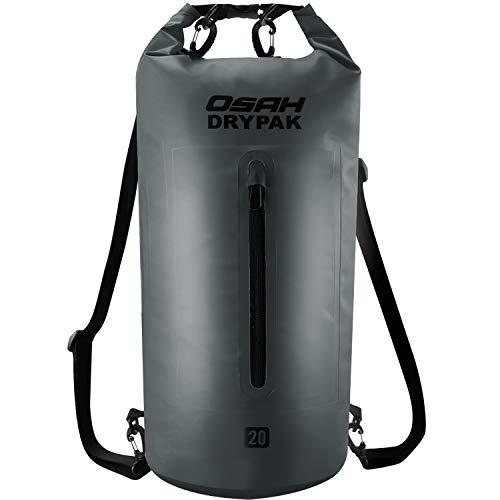 Dry Bag Wasserdichter Packsack 5L 10L 15L 20L 30L Wasserdichte Tasche Sack Beutel Lang Schulter Verstellbarer Schultergurt für Kajak Boot Angeln Rafting Schwimmen Wassersport Treiben (Grau, 20L)