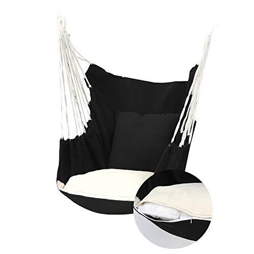 Uniquk Silla de Hamaca Silla de Cuerda Colgante Silla de Columpio Asiento con 2 Almohadas para JardíN Interior Al Aire Libre Columpios de Hamaca de Moda (C)