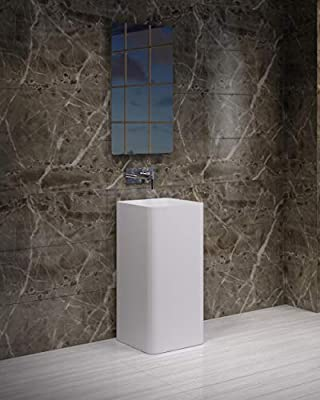 ADM Square Freestanding Pedestal Stone Resin Sink, Matte White, 16
