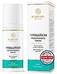 Bioscara Hyaluron crème visage 50ml à haute dose I Anti Aging crème de jour et de nuit avec de l'acide hyaluronique, de la vitamine E, des collages et des peptides I Parfait pour une peau sèche et ridée