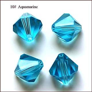 Calvas Wholesale Grade AAA 5301 5328 3mm 4mm 5mm 6mm 8mm 10mm 30 Color Crystal Bicone Beads 100pcs/Bag - (Color: Aquamarine, Item Diameter: 3mm)