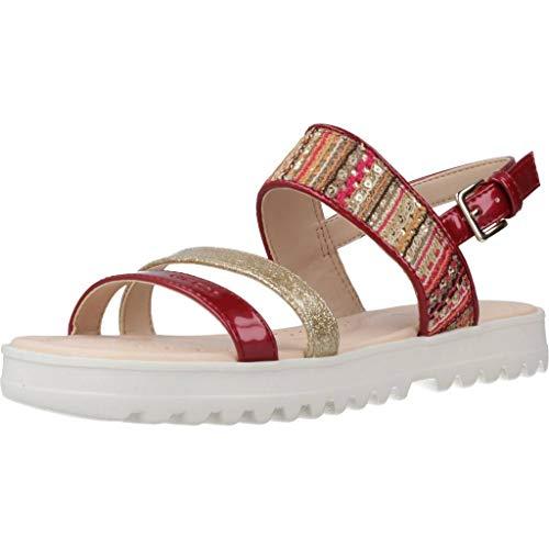 Geox J Sandal Coralie Gir Sandalen/Sandaletten Madchen Rot/Goldfarben - 35 - Sandalen/Sandaletten
