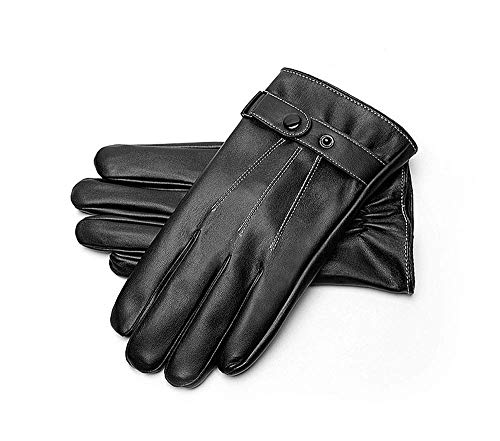 Men's Warm Leather Gloves, Winter Waterproof and Velvet Thickening Riding Driving Windproof Gloves