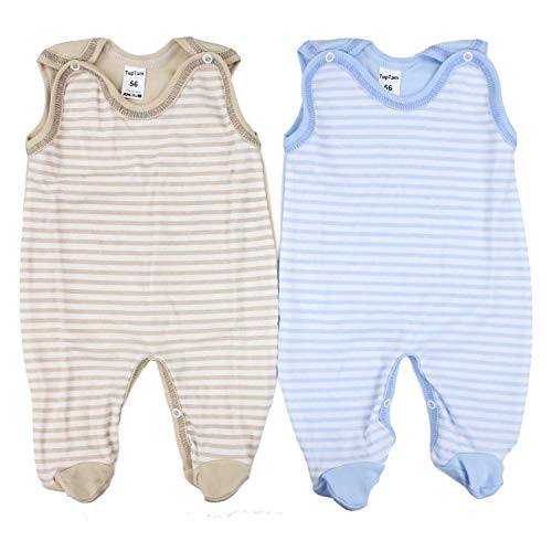 TupTam Unisex Baby Strampler Baumwolle Gemustert 2er Set, Farbe: Farbenmix 3, Größe: 68
